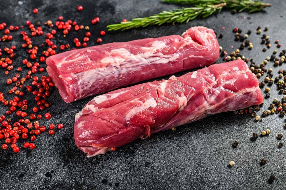 Pork Tenderloin on slate with spices