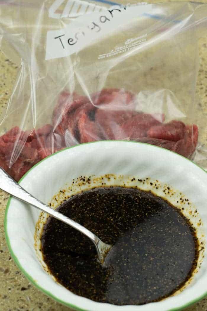 Teriyaki Beef jerky marinade in bowl