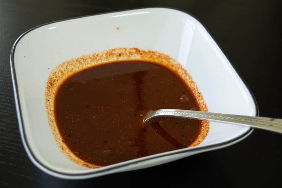 Habanero Tabasco beef jerky marinade in bowl