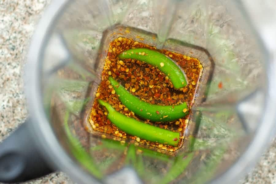 Beef jerky marinade with blender with serrano peppers