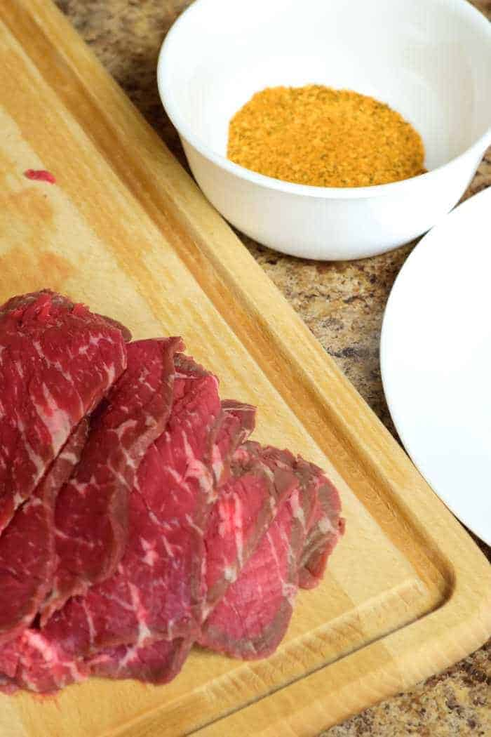 Steak Dry Rub Sliced with Ingredients