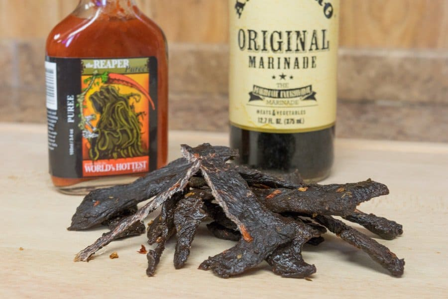 Elk Jerky with carolina reaper peppers