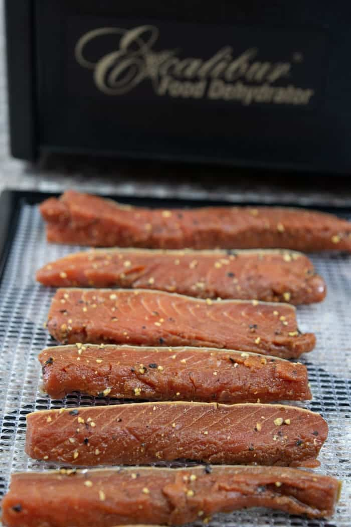 Tasty Salmon Jerky on dehydrator racks