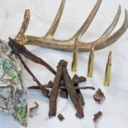 Venison jerky with skull and bullets