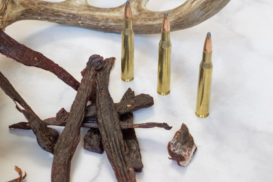 Deer jerky with antler and bullets