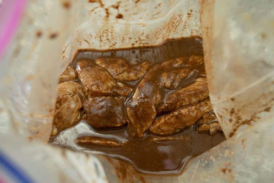 Mole turkey jerky in ziplock bag marinating