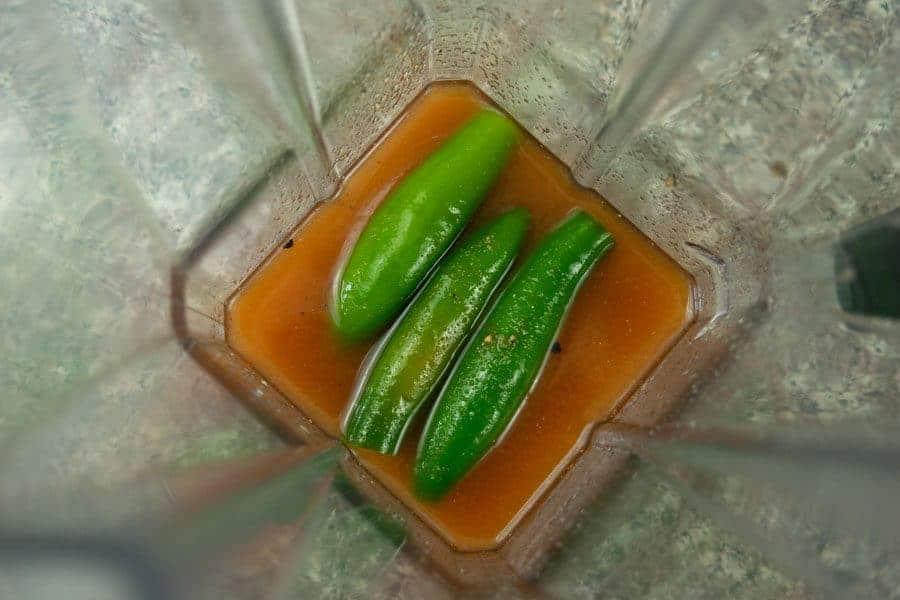 Serrano peppers in blender for jerky marinade