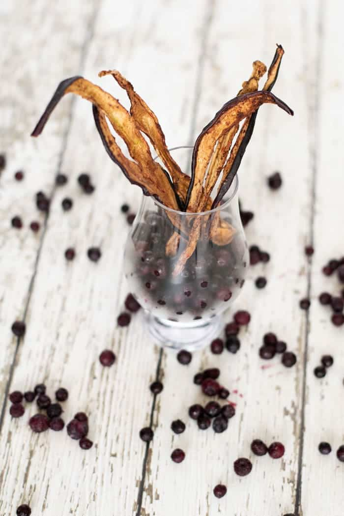 blueberry Eggplant jerky in glass cup