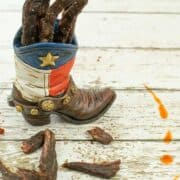 Pistol Pete's Beef Jerky in a Texas boot