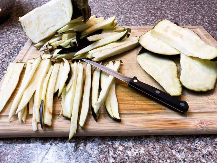 Sliced Eggplant on wooden board