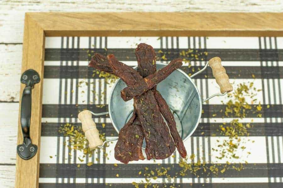 Jerky on tray with parsley around