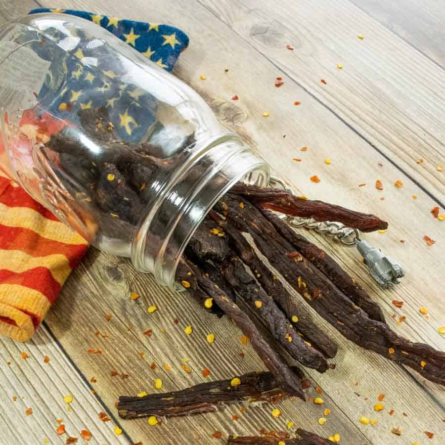 Beef Jerky in mason jar with american flag