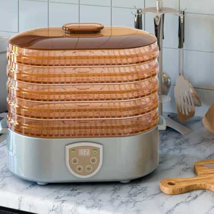 Dehydrator on counter with cutting board and knives