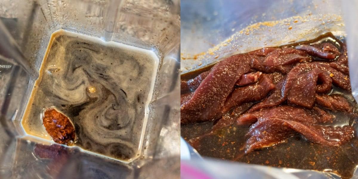 Marinade in blender and jerky slices marinating in ziplock bag