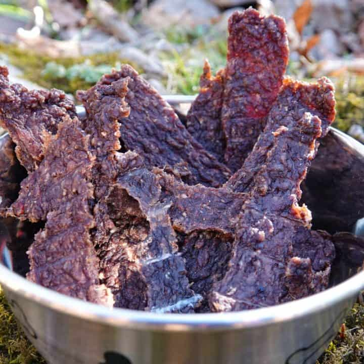 Dog jerky in bowl with grass in background