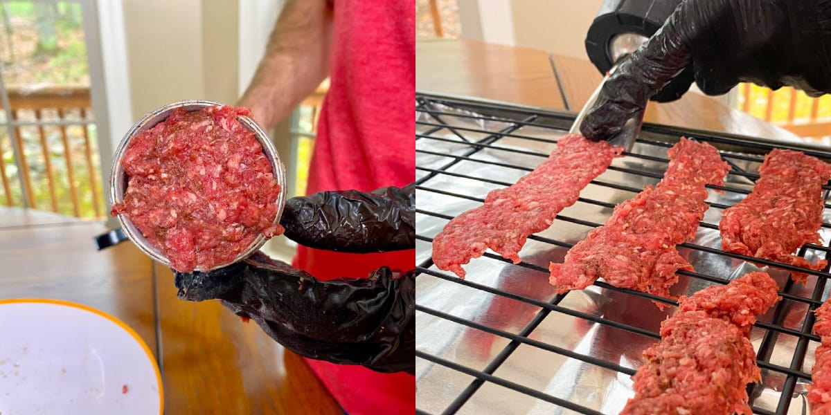 Ground meat in jerky gun and extruded on cooling rack