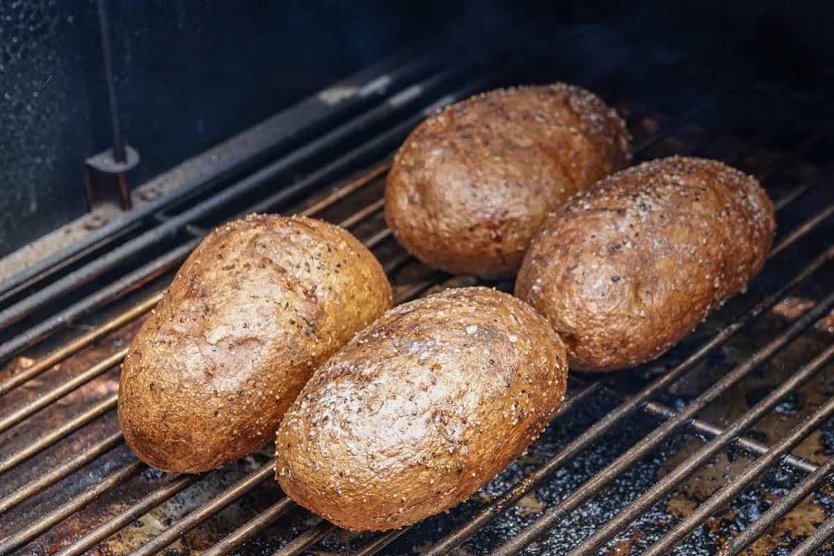 Baked potatoes on smoker