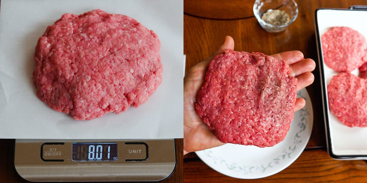 Burger being weighed on scale and made into patty