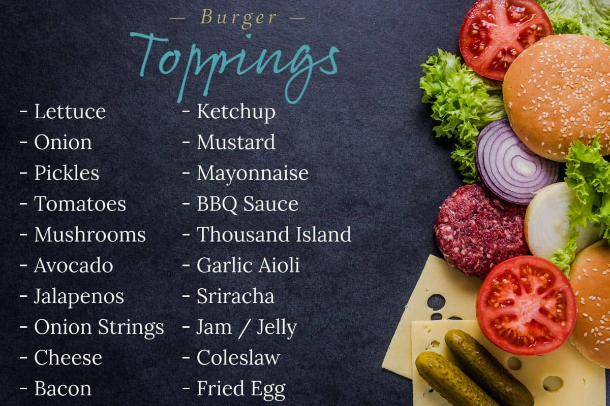 List of hamburger toppings and picture of burger and toppings