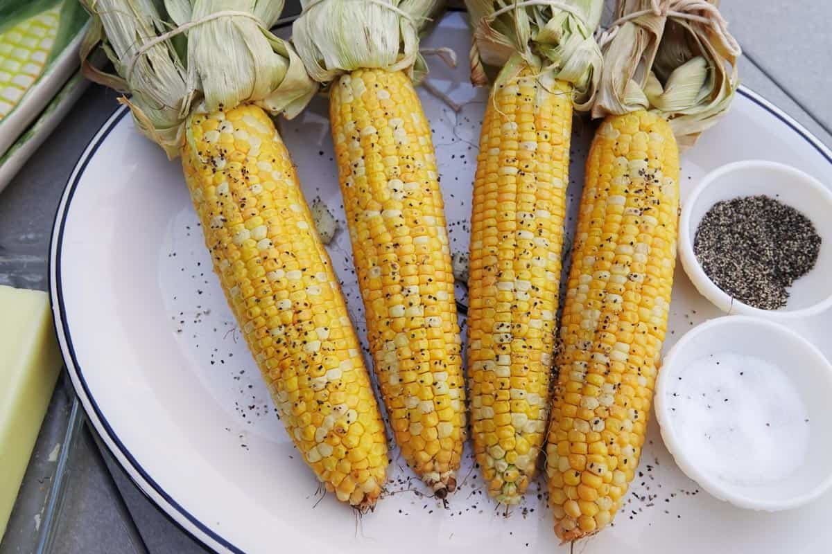 smoked corn seasoned with salt and pepper on white plate