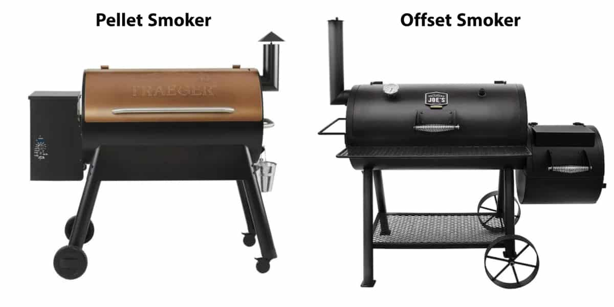 a pellet smoker next to an offset smoker