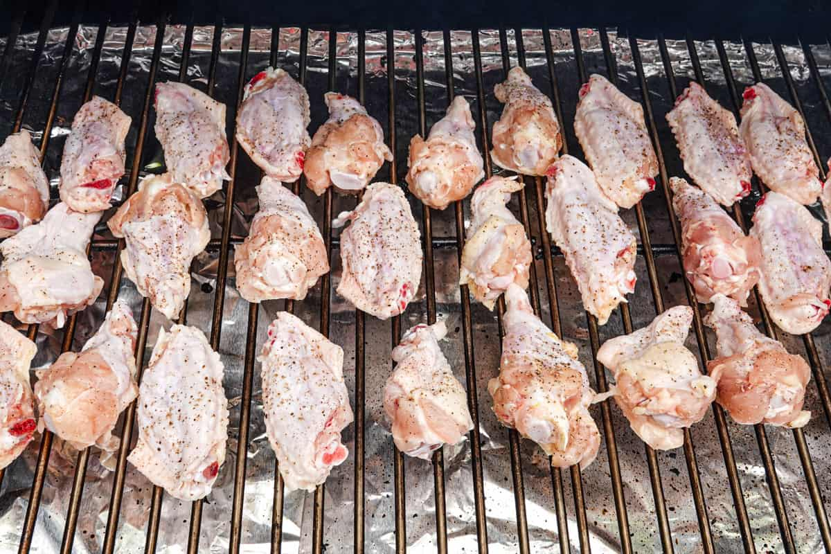 Chicken wings on grill grate