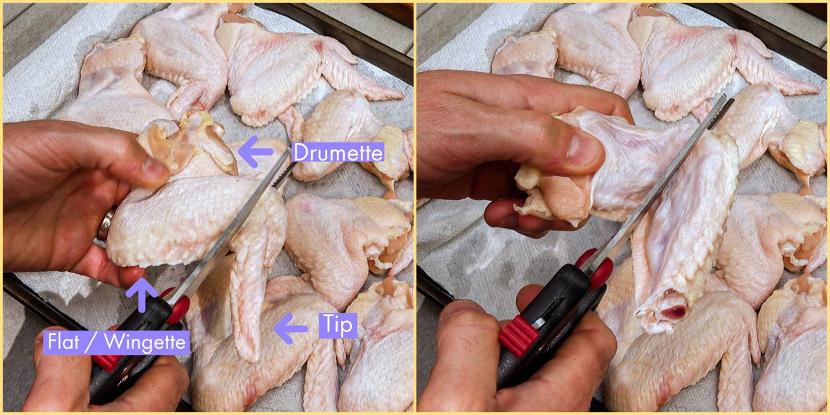 chicken wings being cut into separate pieces