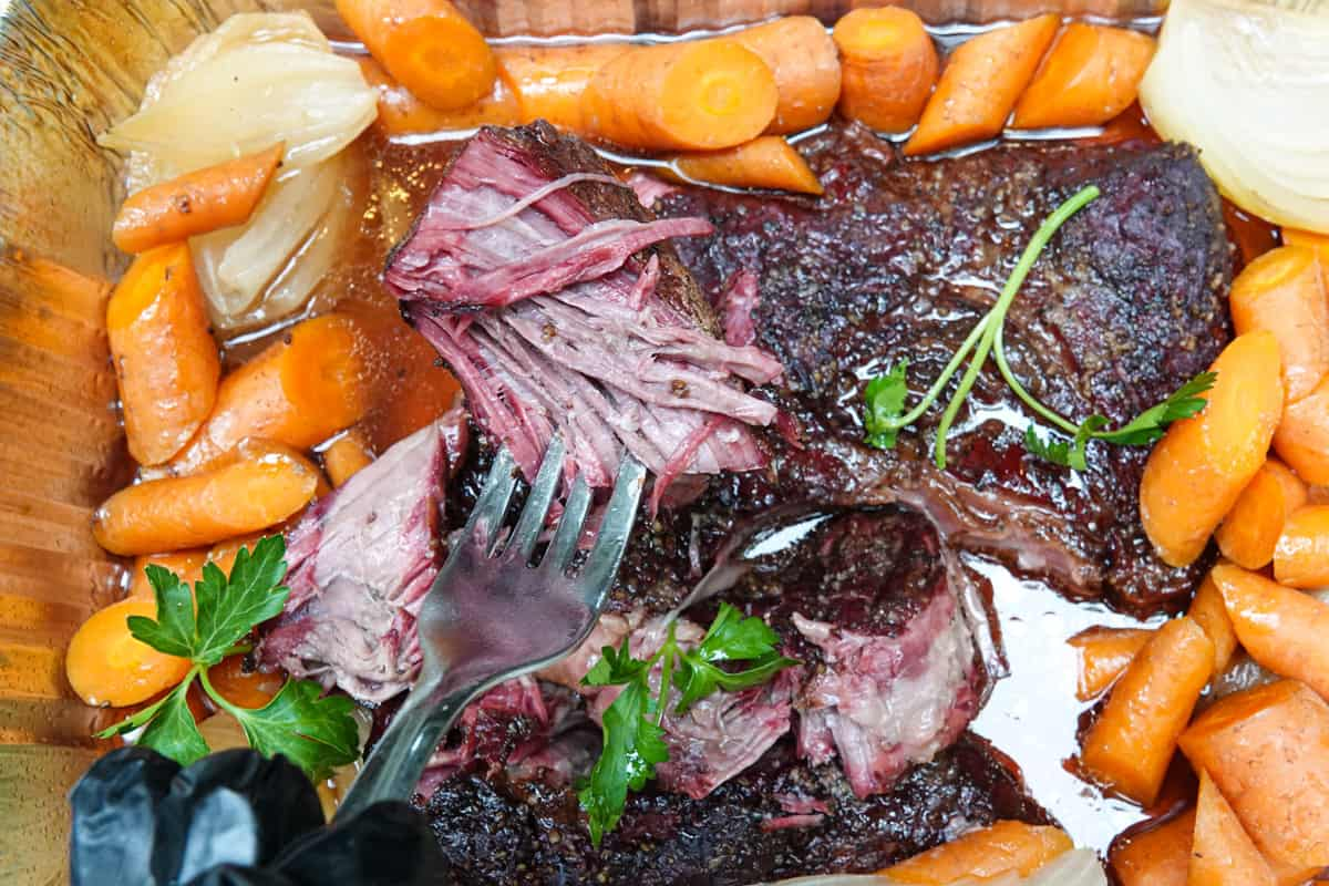 Beef chuck roast pulled apart by fork with carrots and onions around