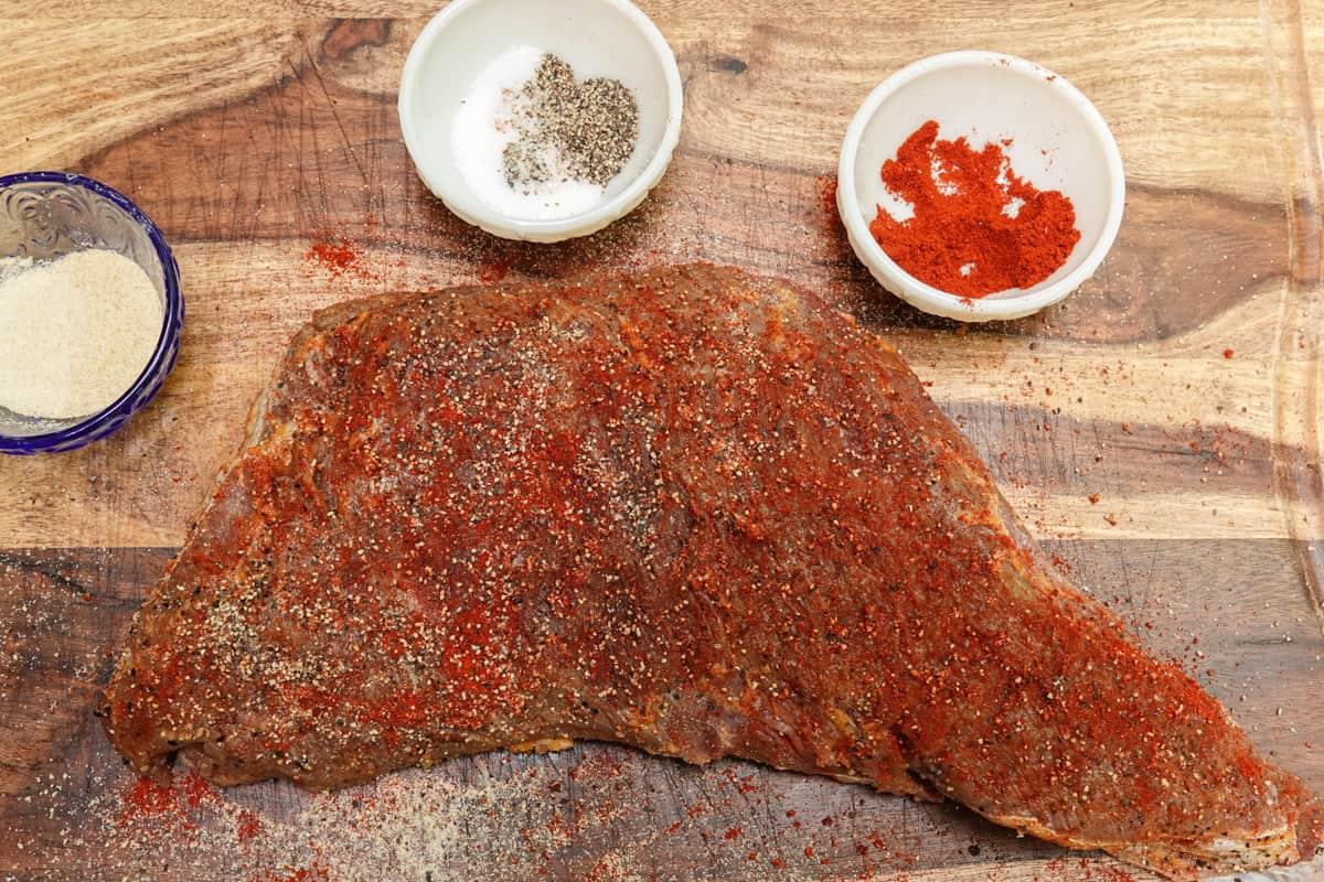 Tri tip steak seasoned