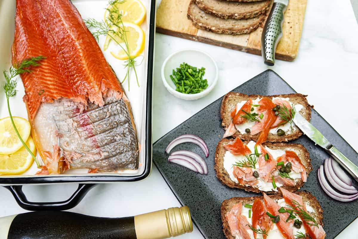 Smoked trout on toast covered with cream cheese