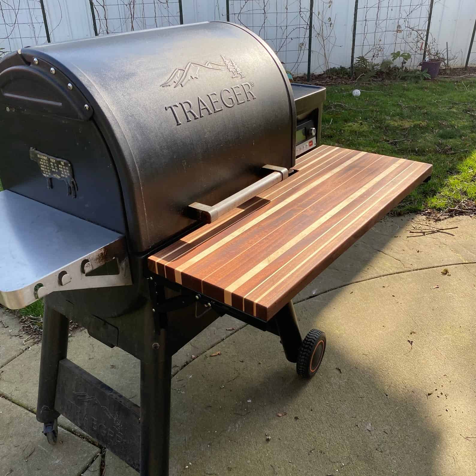 Traeger grill with custom front shelf made of wood
