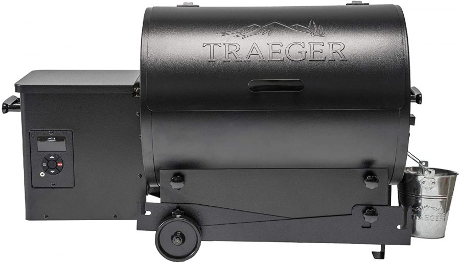 Portable traeger pellet grill in black with side grease can
